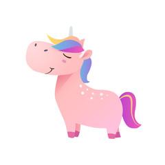 Pink funny smiling unicorn. Vector illustration.