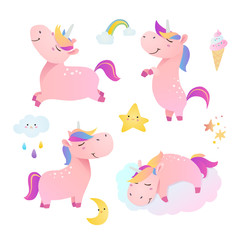 Set of funny smiling unicorns. Vector illustration.