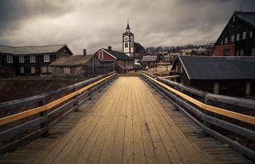 View on Roros church. Norwegian original architecture. Mining town.