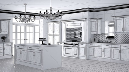 Unfinished project draft of classic vintage luxury kitchen, island with two big chandeliers pendant lamps and big window, contemporary architecture interior design