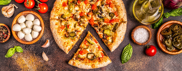 Mexican pizza with jalapeno pepper