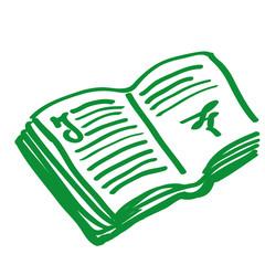 Handgezeichnetes Buch in grün