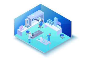 Isometric laboratory room with equipment, 3d machines, scientists doing experiment and research, modern chemical lab vector illustration