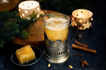 Sbiten. Hot honey drink with herbes and spices. Russian tradition.