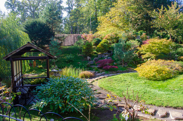 View of Japanese Style garden in England with Pagoda overlooking