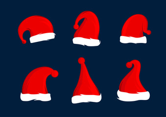 Set of Santa Claus red hats. Christmas hat decoration. Vector illustration design.