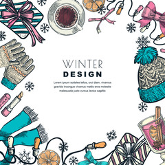 Winter holiday frame. Vector color sketch illustration. Banner or poster design template.