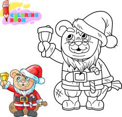 cute cartoon teddy bear santa claus. coloring book, funny illustration