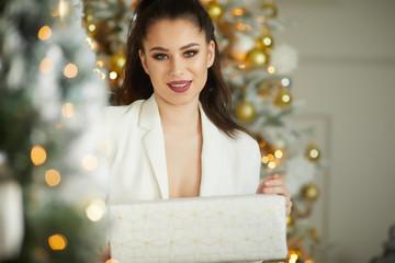 Christmas Winter Woman Opening  Christmas Gift Box Stock Photo