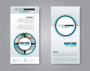 Narrow flyer and leaflet design. Set of two side brochure templates. Vertical banners. Blue colors. Vector illustration mockup.