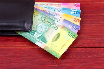 Samoan money in the black wallet