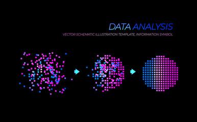 Obraz Vector Glowing Big Data Analysis Illustration, Technology Elements Isolated. - fototapety do salonu