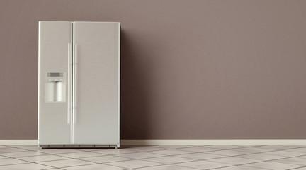 Modern side by side Stainless Steel Refrigerator. Fridge Freezer interior. 3d rendering