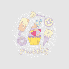 Sweet fun cartoon cupcake with colored frosting and strawberry. Cartoon cupcake icon with decoration elements such as donut, lollipop, ice cream and curved lines. Colored cupcake icon vector.