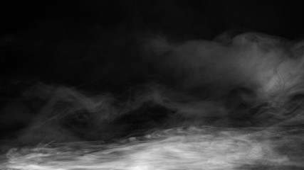 Realistic dry ice smoke  floor. Clouds fog overlays perfect texture. Isolated misty on black background .