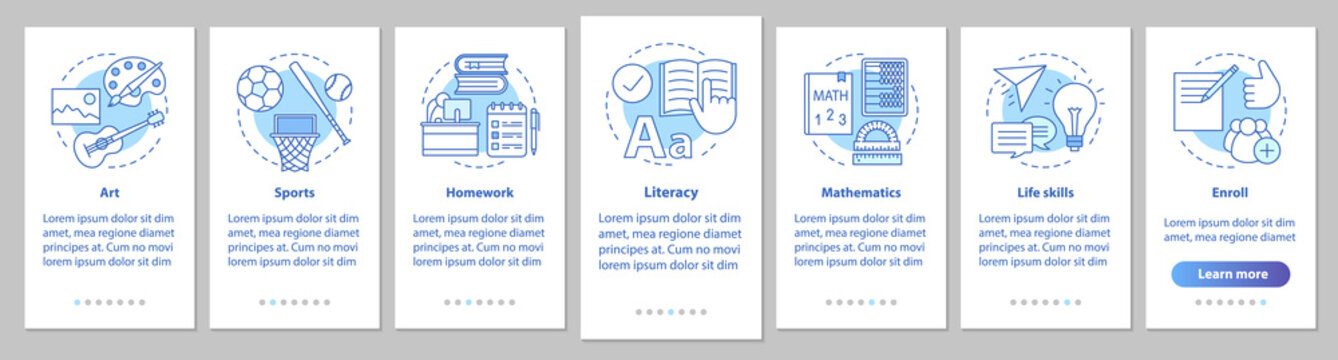 After school program onboarding mobile app page screen with line