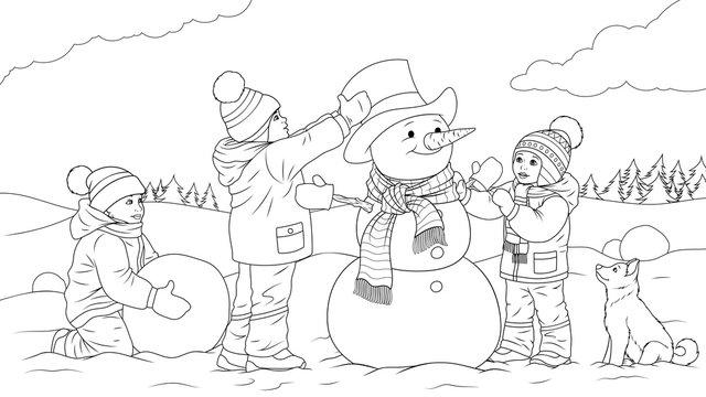 Children sculpt a snowman