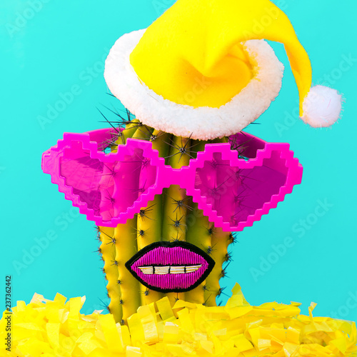 Tropical Christmas Party Ideas.Christmas Cactus Hipster Party Tropical Christmas Idea Stock Photo