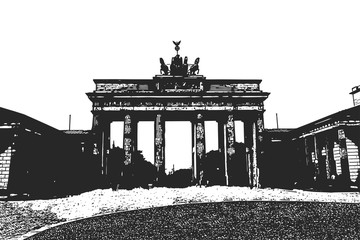 Brandenburg Gates. Berlin. Vintage hand drawn sketch