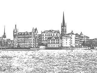 Stockholm. Vintage hand drawn sketch