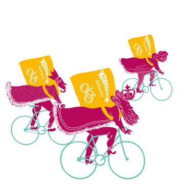 The three Wise Riders. Bike messengers. Christmas card.