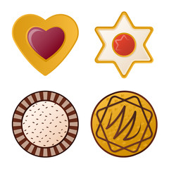 Isolated object of biscuit and bake symbol. Collection of biscuit and chocolate stock vector illustration.