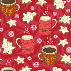 seamless christmas pattern with cups, cookies and snowflakes