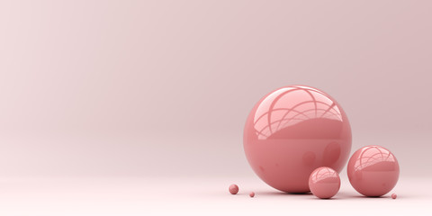 Abstraction for advertising. Pink balls on a pink background. 3d rendering illustration.