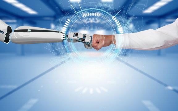 Businessman Robot Fist Bump Connection HUD Network