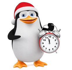 Cartoon penguin character in Christmas clothes indicates the alarm clock on a white background. 3d rendering. Illustration for advertising.