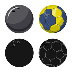 Isolated object of sport and ball logo. Collection of sport and athletic stock vector illustration.