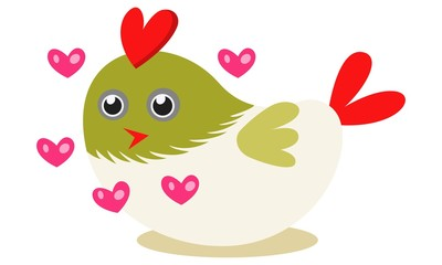 Vector cartoon illustration of cute bird with hearts.  Isolated on white background.