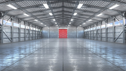 Hangar interior with gate. 3d illustration