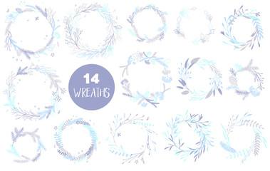 Christmas wreaths set.