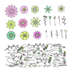 Set of Vector floral elements for your design isolated on white background. Collection of soft cute drawing pink, green, yellow small flowers and branches in doodle style. Brush of abstract herbs