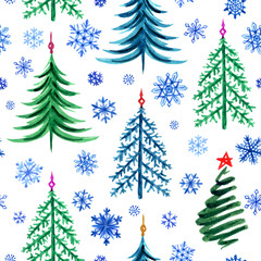 Seamless pattern of Christmas trees and snowflakes, watercolor drawing on a white background. New Year, Christmas print for fabric, wrapping paper and other designs.