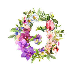 Floral numeral 5 - five from flowers and herbs. Watercolor.