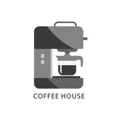 Coffee house logo. Coffee machine icon