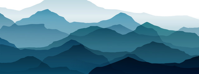 Wall Mural - beautiful mountain landscape, abstract vector background for design, of blue color