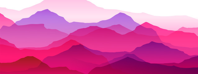 Wall Mural - beautiful mountain landscape, abstract vector background for design, pink purple color