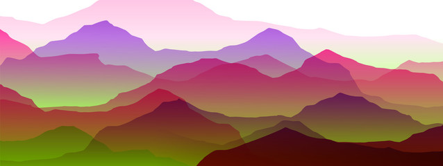 Wall Mural - beautiful mountain landscape, abstract vector background for design, pink, purple, green colors