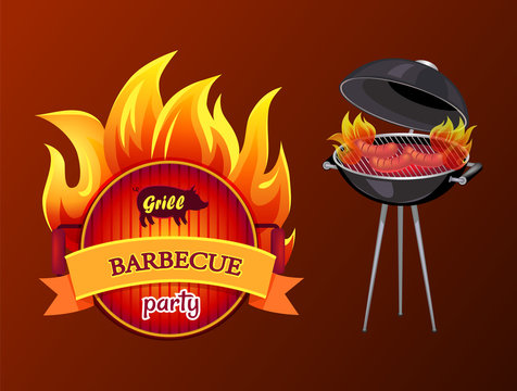 Grill Party Barbecue Roaster Vector Illustration