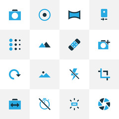 Image icons colored set with panorama, rotate, chronometer and other angle