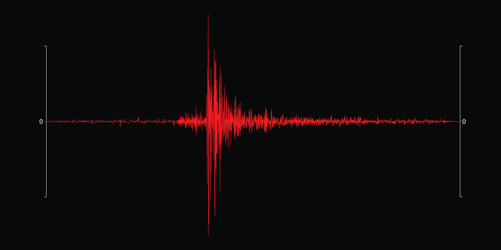 Seismogram of the earthquake. Seismic activity record. Vector illustration.