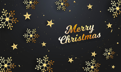 Stylish lettering of Merry Christmas on black background decorated with snowflakes and stars. can be used as greeting card design.