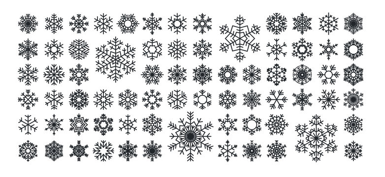 Set icons of black snowflakes over white backgrounds, vector illustration