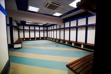 Visiting team dressing room is seen at Santiago Bernabeu stadium in Madrid