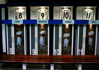 Real Madrid dressing room is seen at Santiago Bernabeu stadium in Madrid