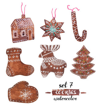 Watercolor Christmas set of seven gingerbread. Decorated Christmas tree, boot with ornament, mitten with snowflake, cane, gingerbread house, deer, star. Everything is decorated with white sweet icing.