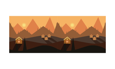 Beautiful mountain landscape ith houses, sunset or sunrise over the mountains vector Illustration